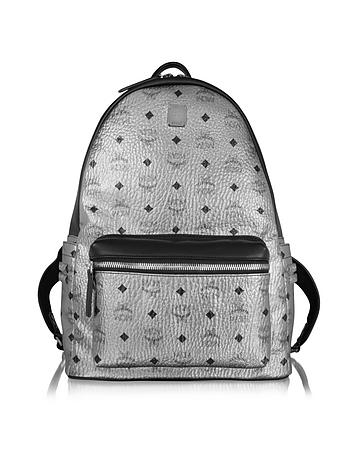 MCM - Silver Stark Medium Backpack