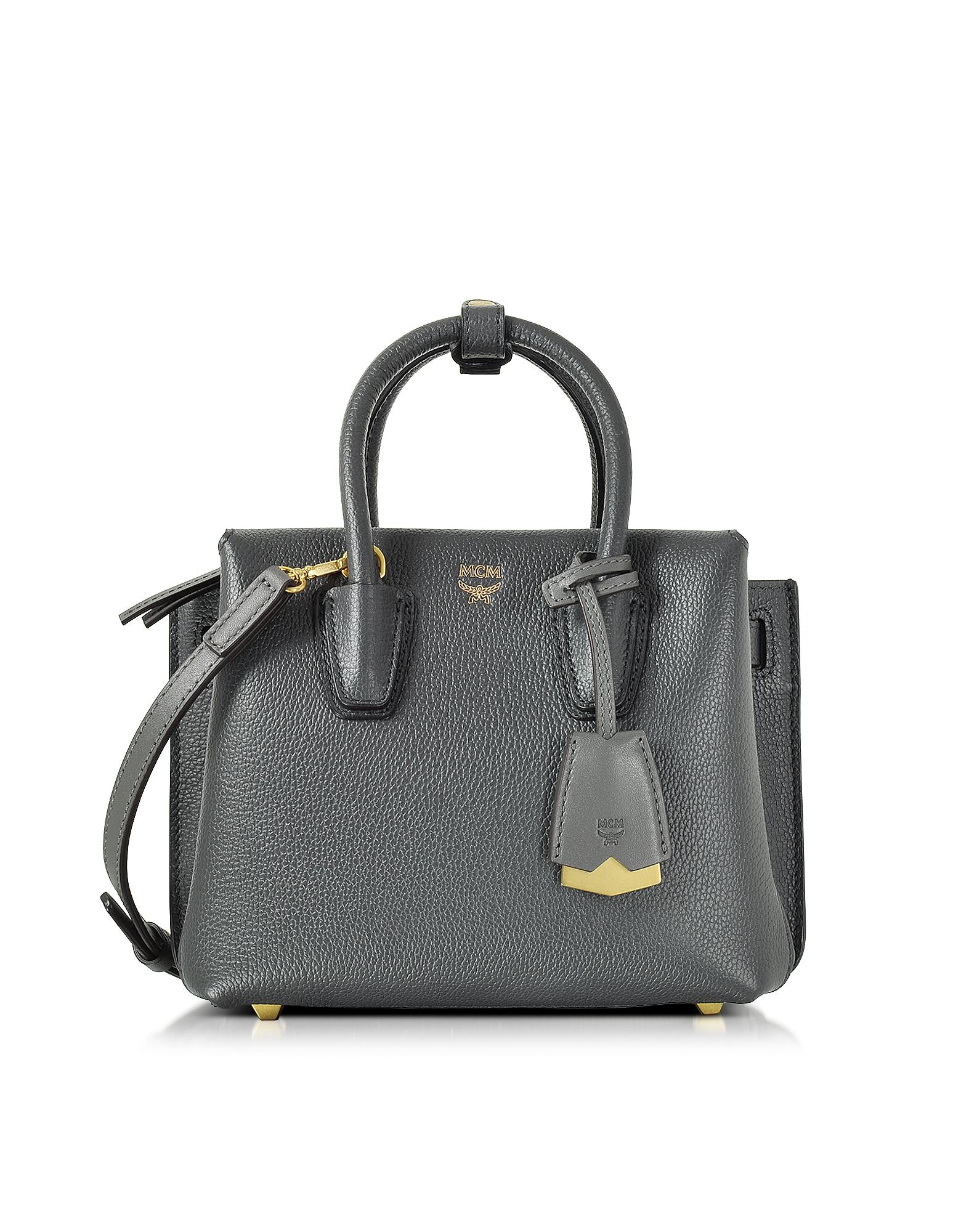 MCM Handbags, Milla Phantom Grey Leather Mini Tote