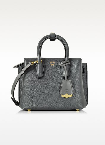 Milla Phantom Grey Leather Mini Tote - MCM