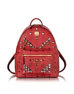 MCM Small Stark Backpack Zaino Rosso con Borchie - mcm - it.forzieri.com