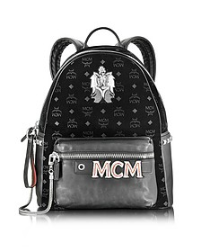 Stark Velvet Insignia Black Medium Backpack - MCM