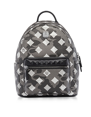 MCM - Stark Camo Print Silver Shadow Medium Backpack