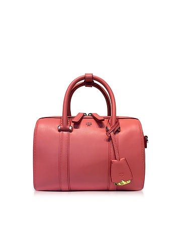 MCM - Small Coral Blush Signature Smooth Leather Boston Bag