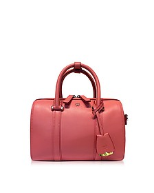 Small Coral Blush Signature Smooth Leather Boston Bag - MCM