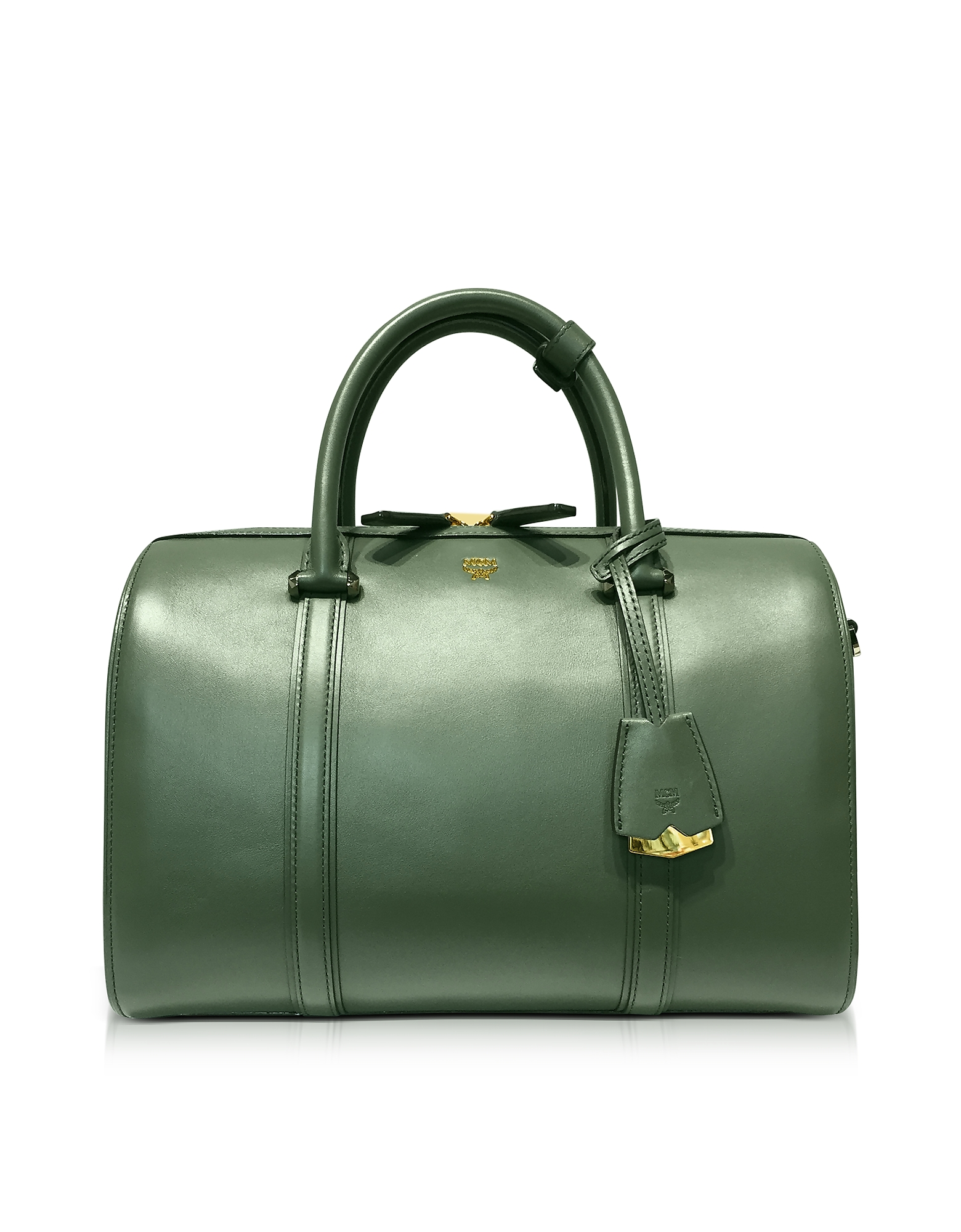 MCM Handbags, Large Loden Green Signature Smooth Leather Boston Bag