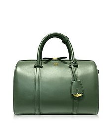 Large Loden Green Signature Smooth Leather Boston Bag - MCM