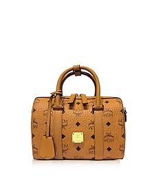 Original Boston Bag - Маленькая Коньячная Сумка с Фирменным Узором Visetos - MCM