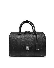 Original Boston Bag - Маленькая Черная Сумка с Фирменным Узором Visetos - MCM