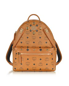 Small Cognac Signature Visetos Original Drawstring Bucket Bag - MCM