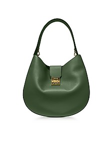 Patricia Park Avenue Large Loden Green Leather Hobo Bag - MCM