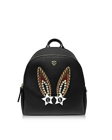 Mini Black Leather Polke Bunny Studs Backpack - MCM