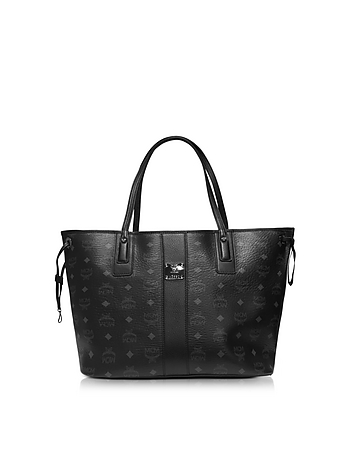 MCM - Medium Black Shopper Project Visetos Reversible Tote