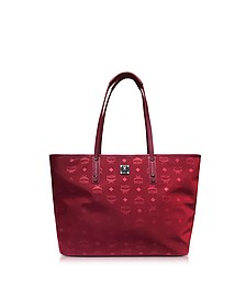 Medium Ruby Tan Nylon Top Zip Dieter Monogrammed Shopping Bag - MCM