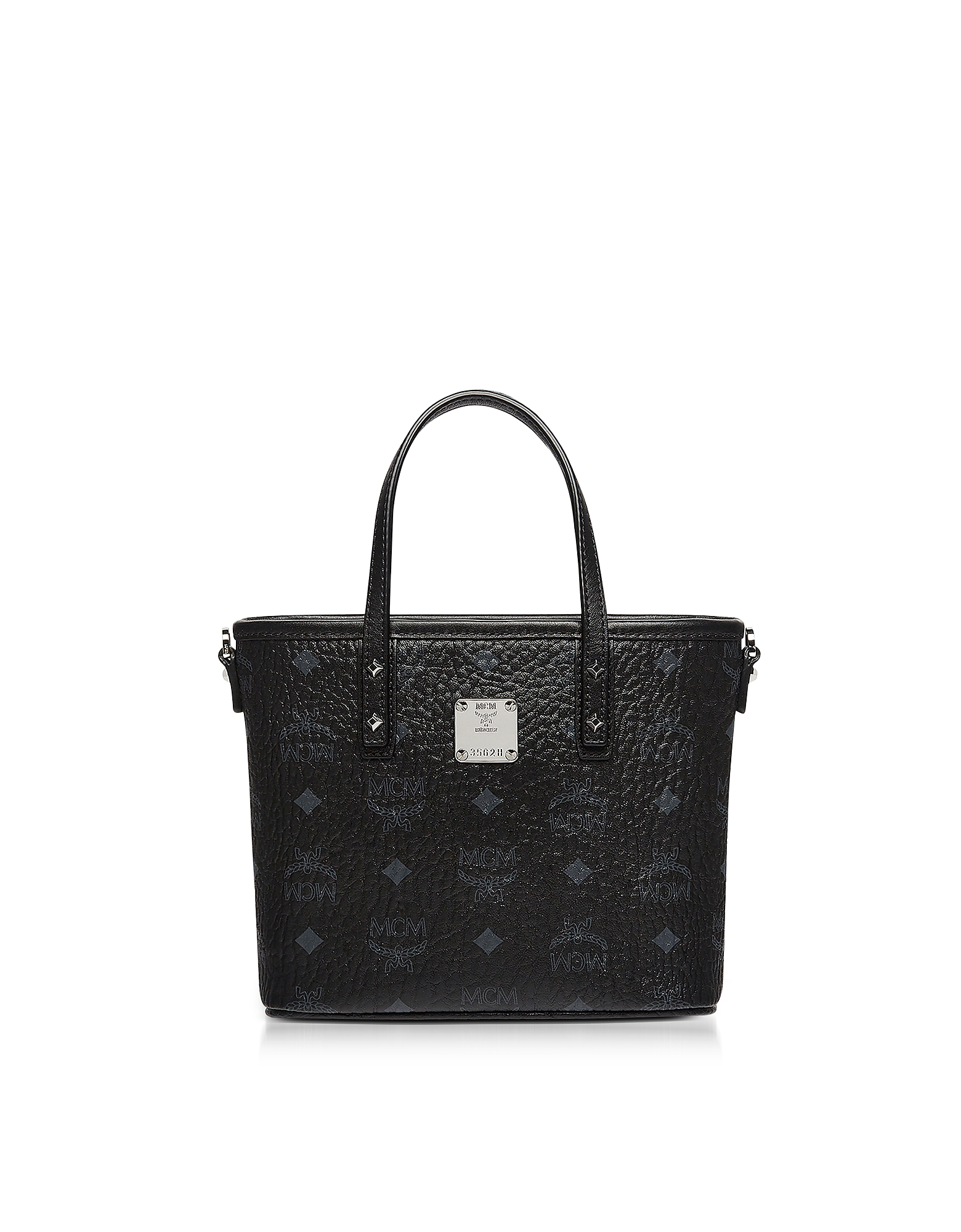 MCM Handbags, Mini Black Eco Leather Top Zip Shopping Bag