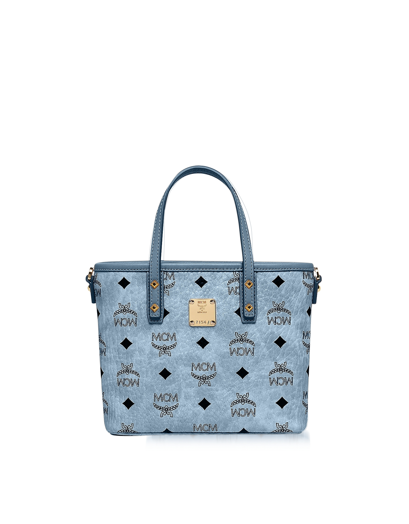 MCM Handbags, Mini Denim Eco Leather Top Zip Shopping Bag