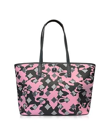 MCM - Medium Pink Blush Camo Print Top Zip Shopping Bag