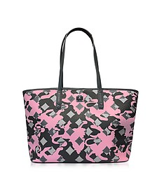 Medium Pink Blush Camo Print Top Zip Shopping Bag - MCM