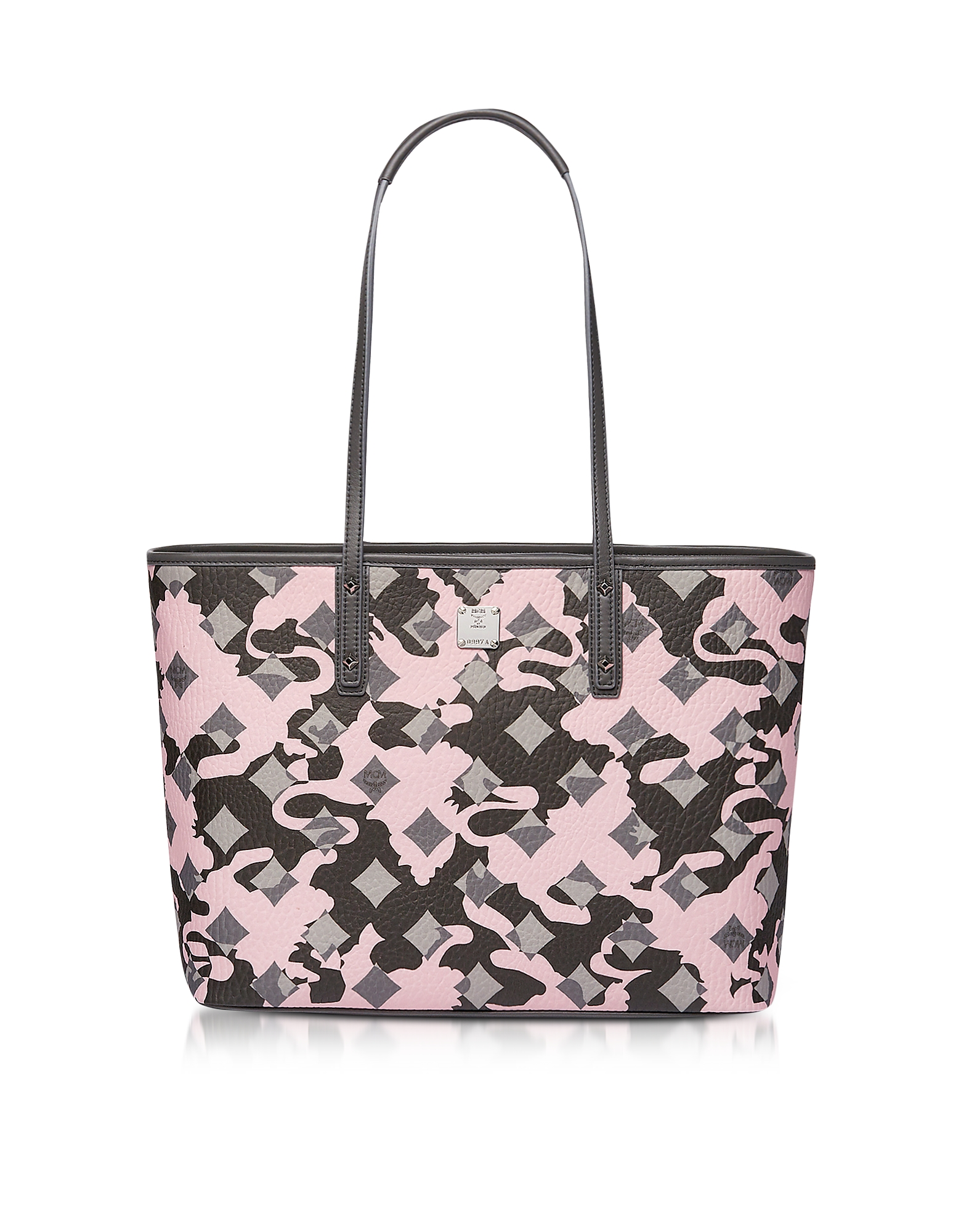 MCM Handbags, Medium Pink Blush Camo Print Top Zip Shopping Bag