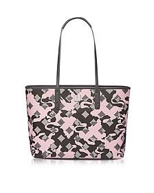 Medium Pink Blush Camo Print Top Zip Shopping Bag - MCM