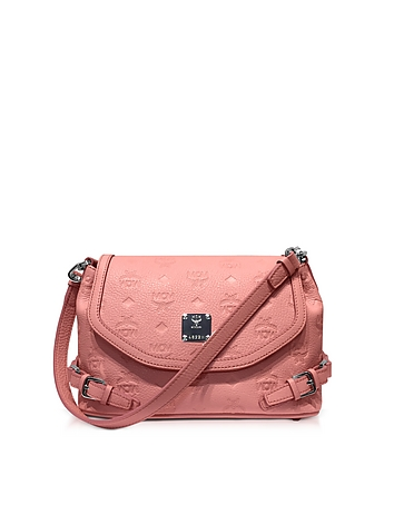 MCM - Pink Blush Signature Monogrammed Leather Small Crossbody Bag