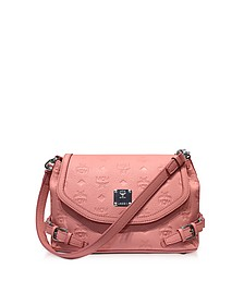 Pink Blush Signature Monogrammed Leather Small Crossbody Bag - MCM