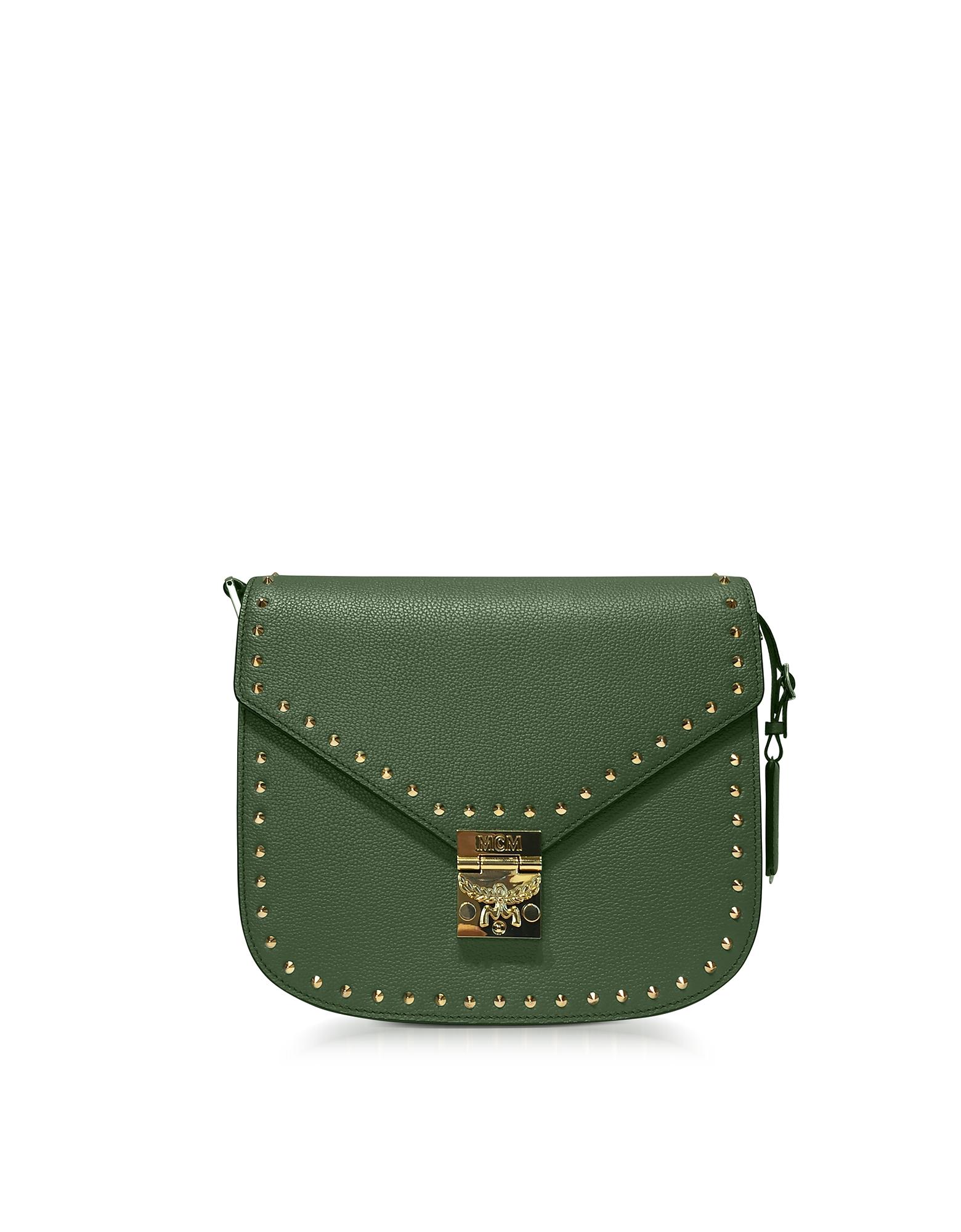 Фото Patricia Park Avenue - Маленькая Зеленая Сумка на Плечо с Заклепками. Купить с доставкой