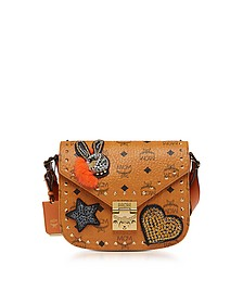 Cognac Patricia Embellished Visetos Small Shoulder Bag - MCM
