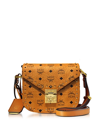 MCM - Cognac Patricia Studded Outline Visetos Small Shoulder Bag