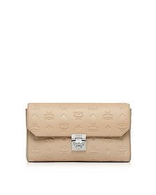Medium New Beige Millie Monogrammed Leather Flap Crossbody Bag - MCM