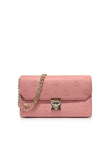 MCM - Medium Pink Blush Millie Monogrammed Leather Flap Crossbody Bag