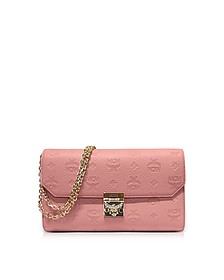 Medium Pink Blush Millie Monogrammed Leather Flap Crossbody Bag - MCM