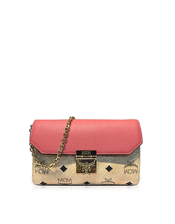 9671f0e41 Medium Coral Blush Millie Visetos Leather Block Flap Crossbody Bag from MCM  at FORZIERI Official Site