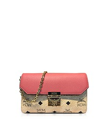 Medium Coral Blush Millie Visetos Leather Block Flap Crossbody Bag - MCM