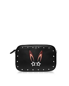 Black Star Bunny Motif Mini Crossbody Bag w/Zip - MCM