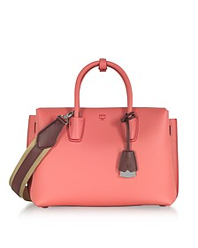 Milla Coral Pink Park Avenue Medium Leather Tote Bag - MCM