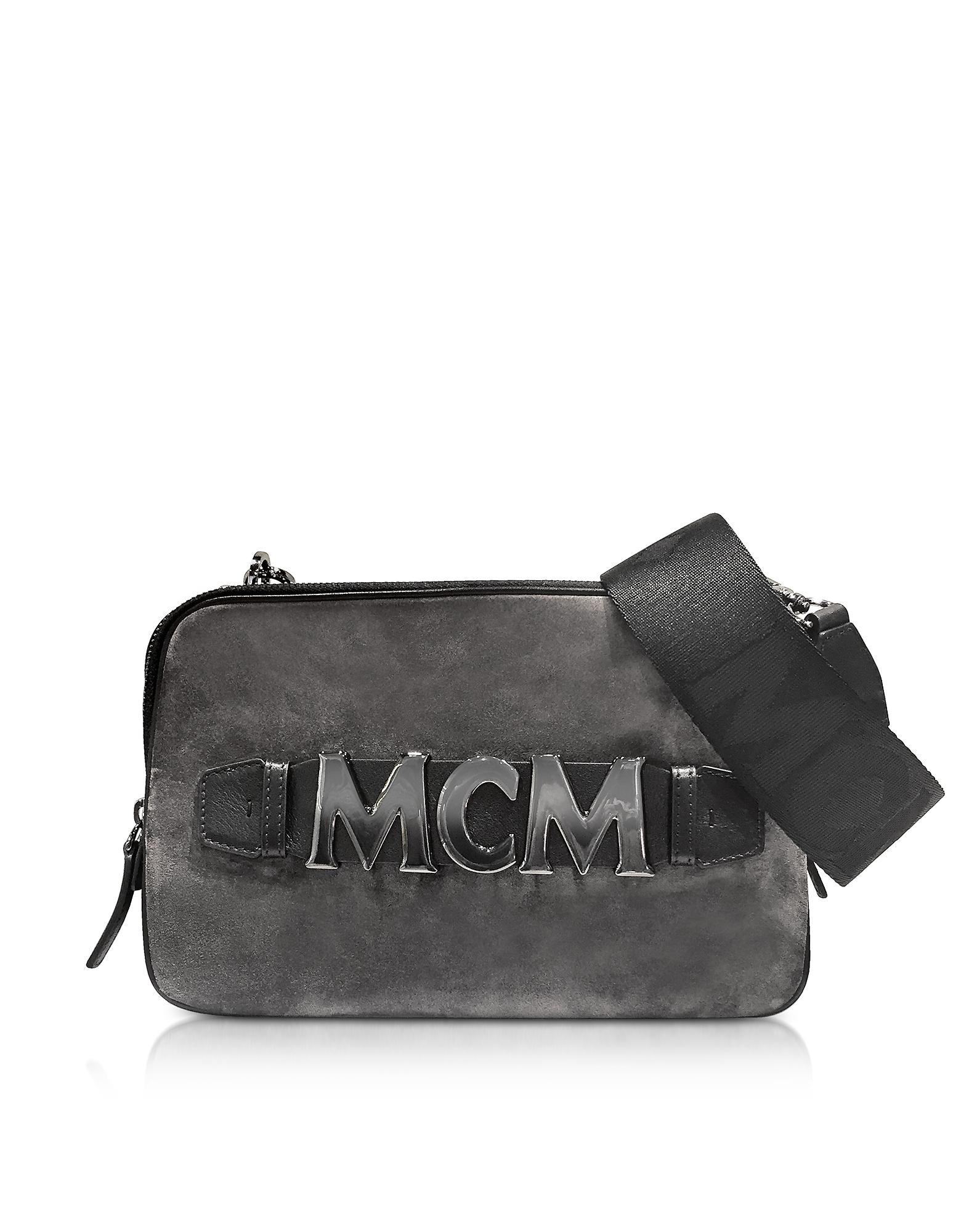 MCM Handbags, Phantom Grey Suede Cubism Medium Crossbody Bag