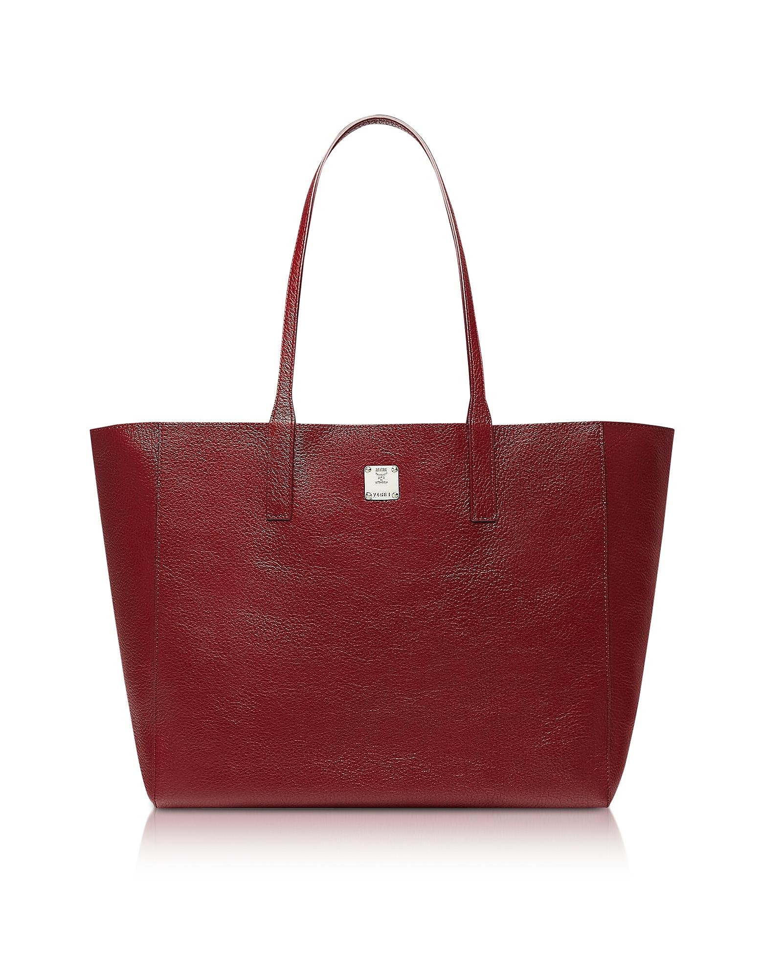 MCM Designer Handbags, Medium Metallic Leather Wandel Reversible Koppelene Shopper
