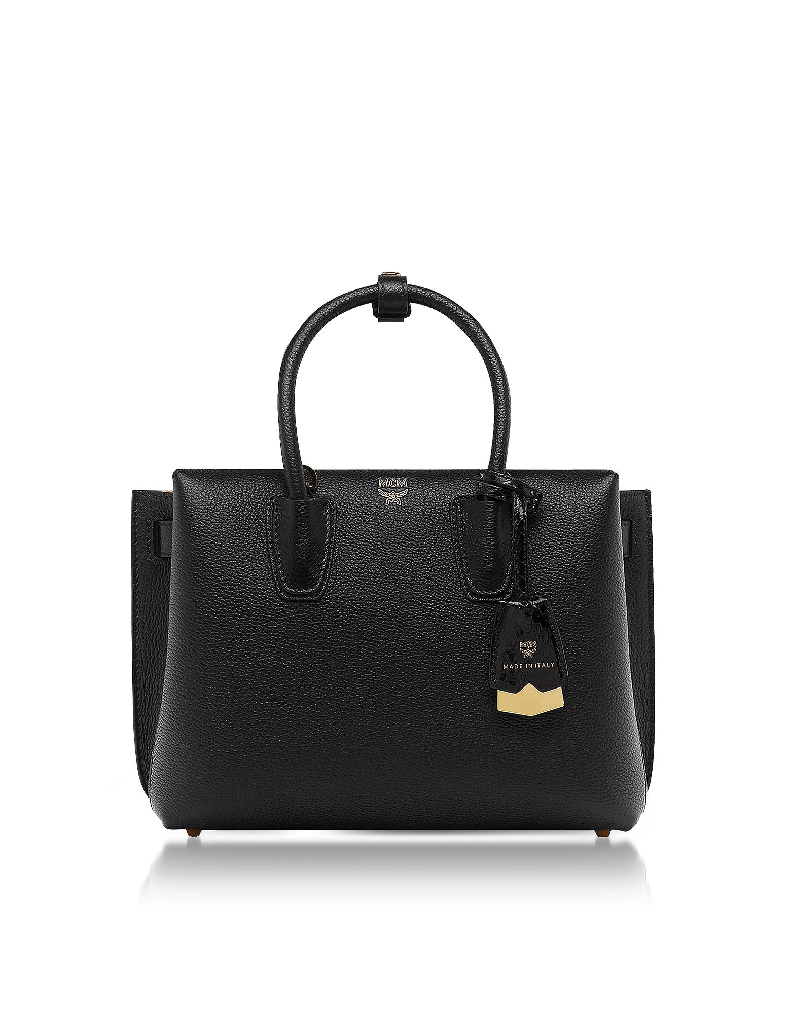 MCM Handbags, Black Leather Milla Small Tote