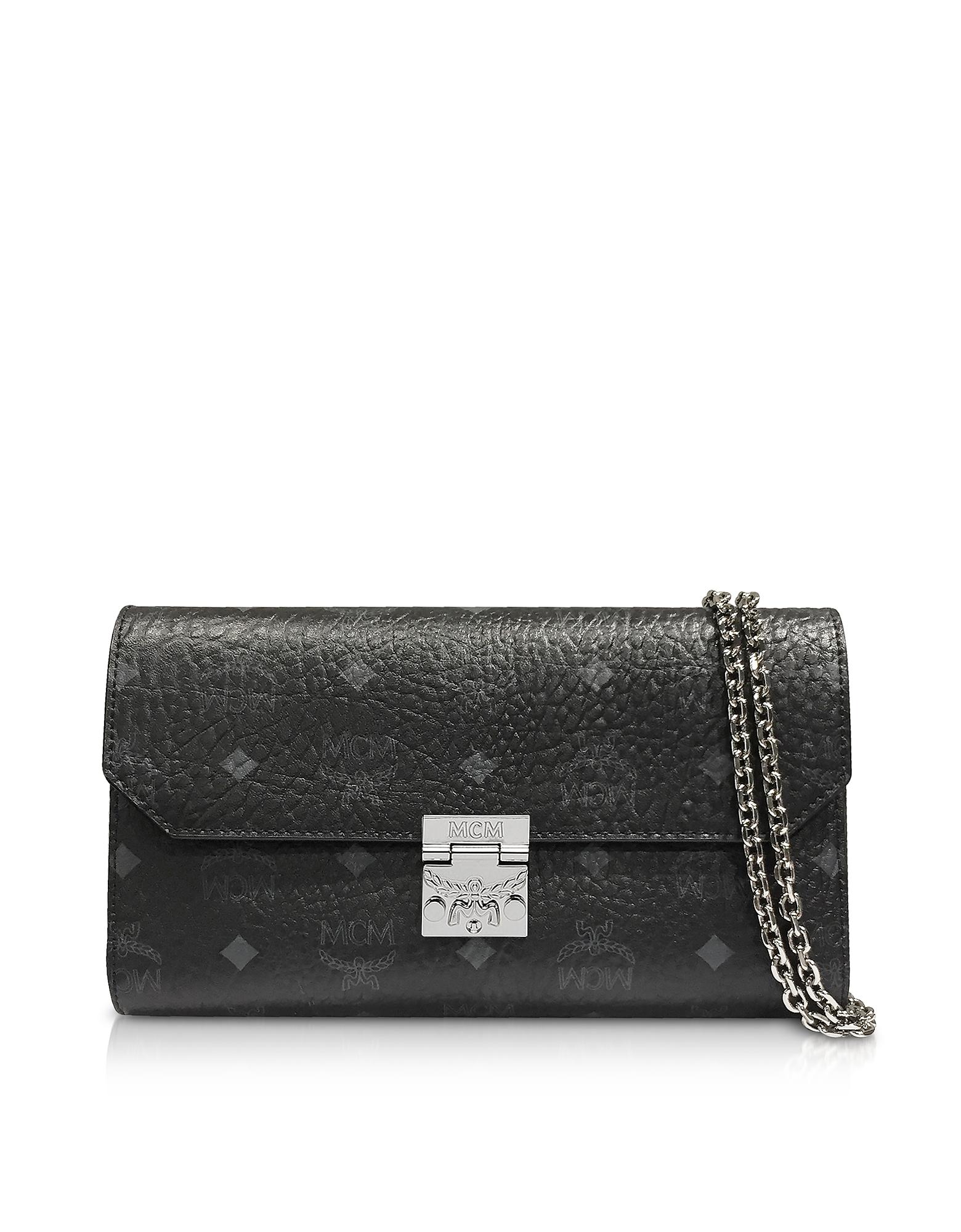 Black Patricia Visetos Large Wallet Crossbody Bag