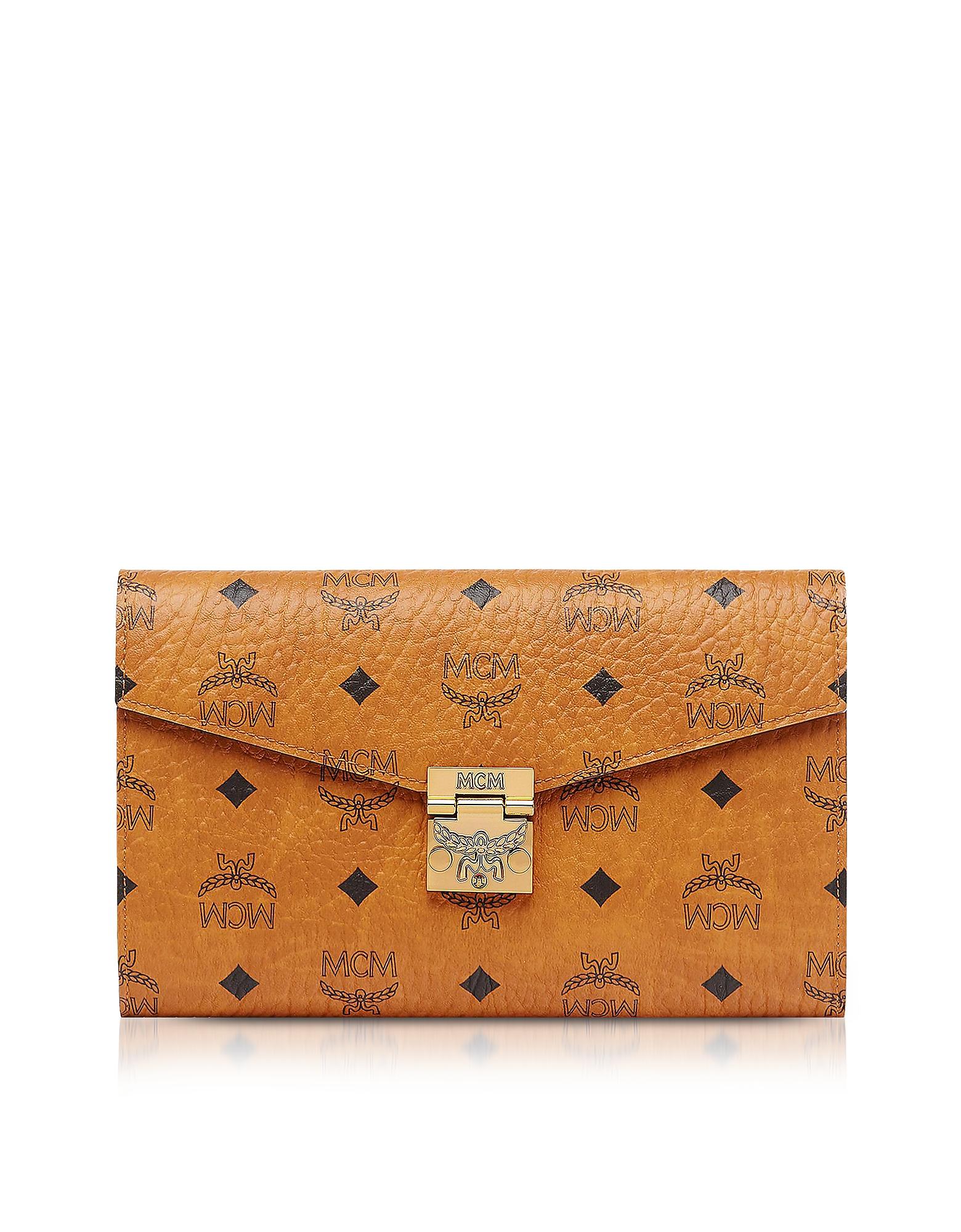 MCM Handbags, Cognac Patricia Visetos Large Wallet Crossbody Bag