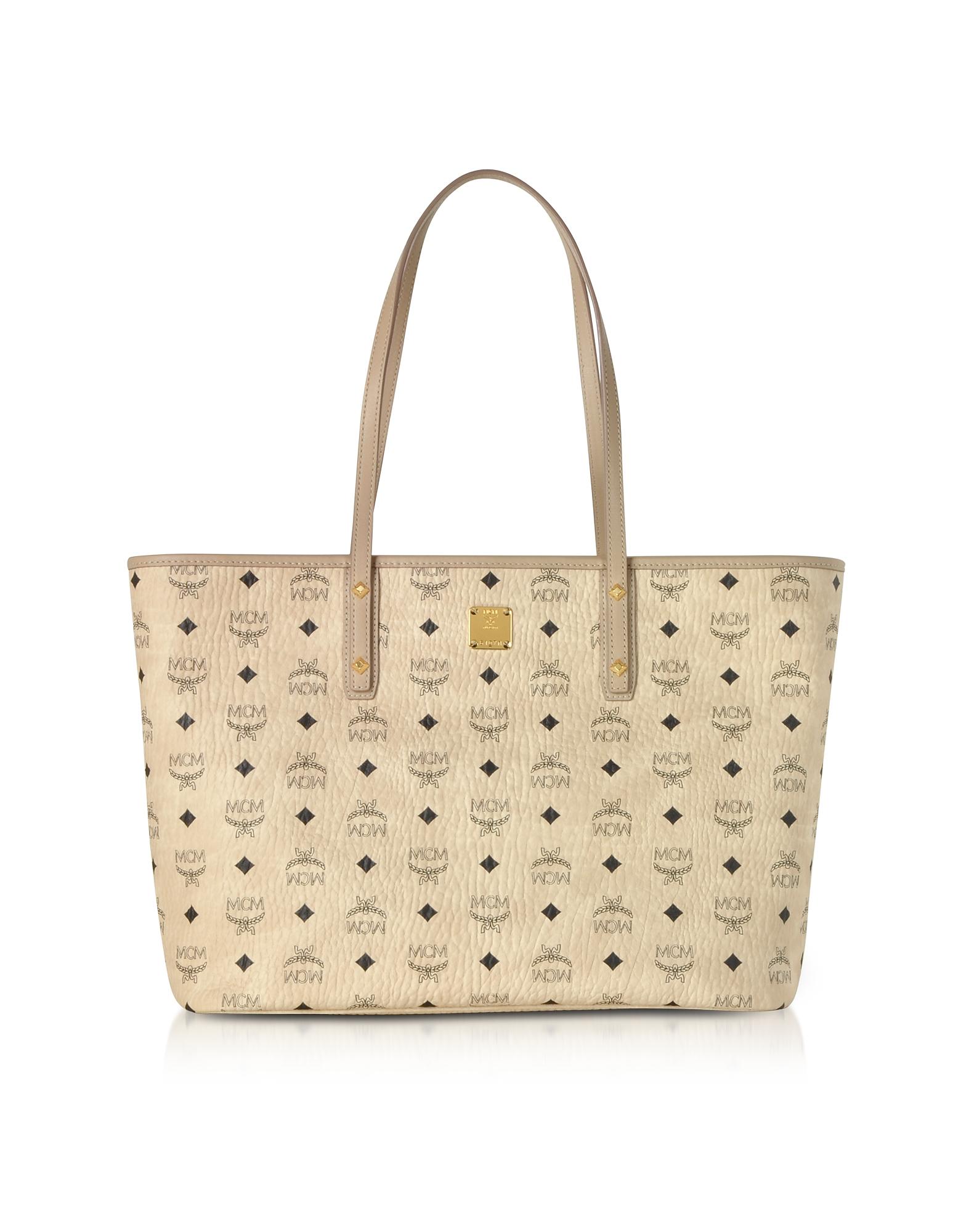 MCM Handbags, Beige Anya Top Zip Medium Shopper