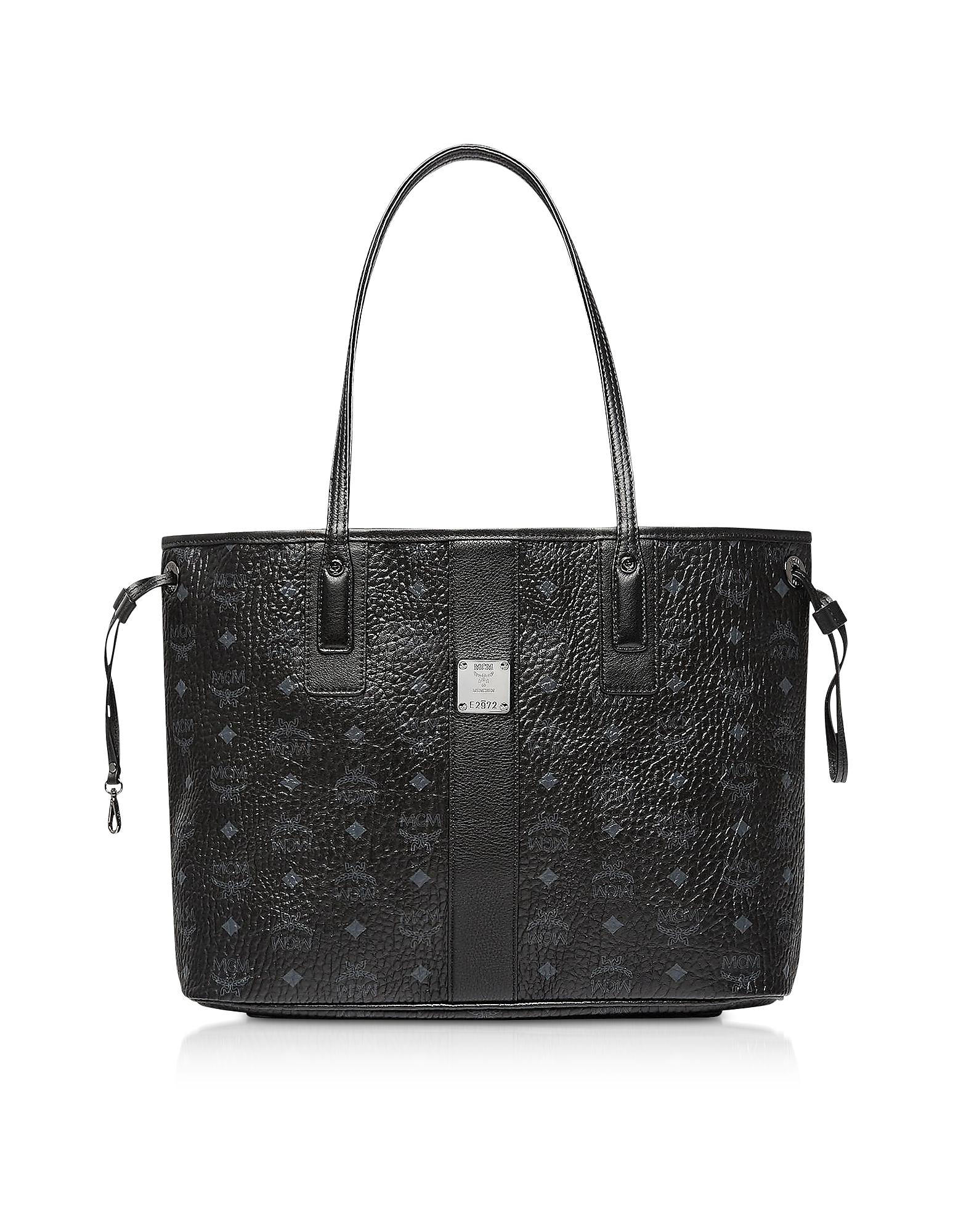Black Shopper Project Visetos Beige Medium Reversible Tote Bag
