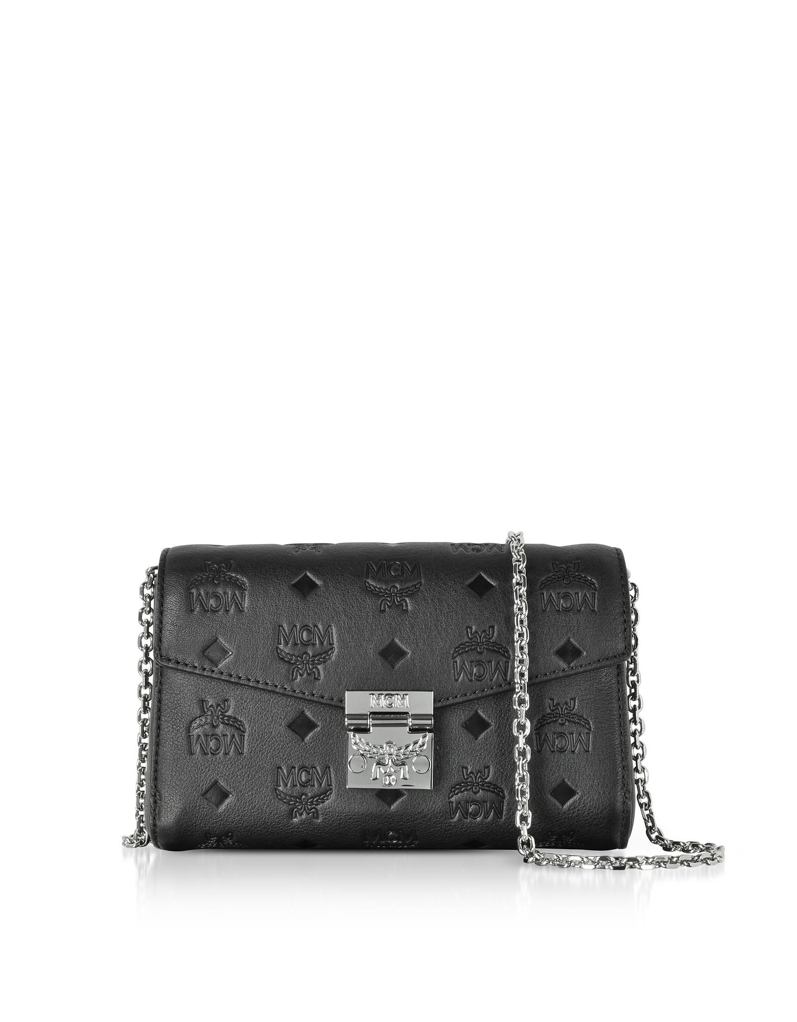 Black Millie Monogrammed Leather Small Crossbody Bag