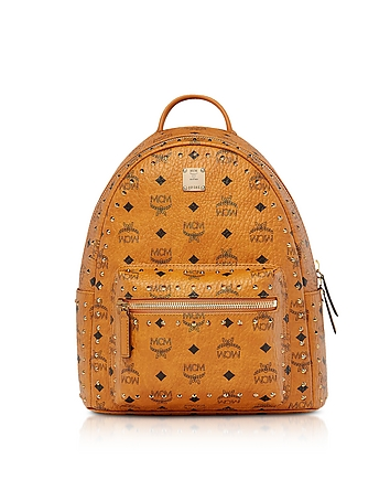 Small Cognac Studded Outline Visetos Stark Backpack