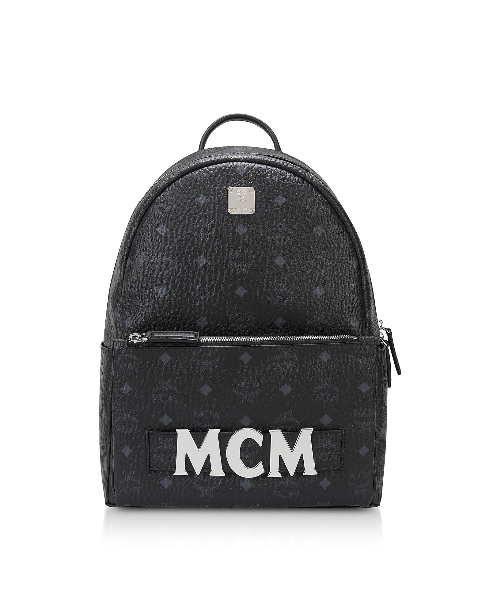 ae43cf5eb586e MCM Designer Handbags, Black Trilogie Stark Small/Medium Backpack. FORZIERI