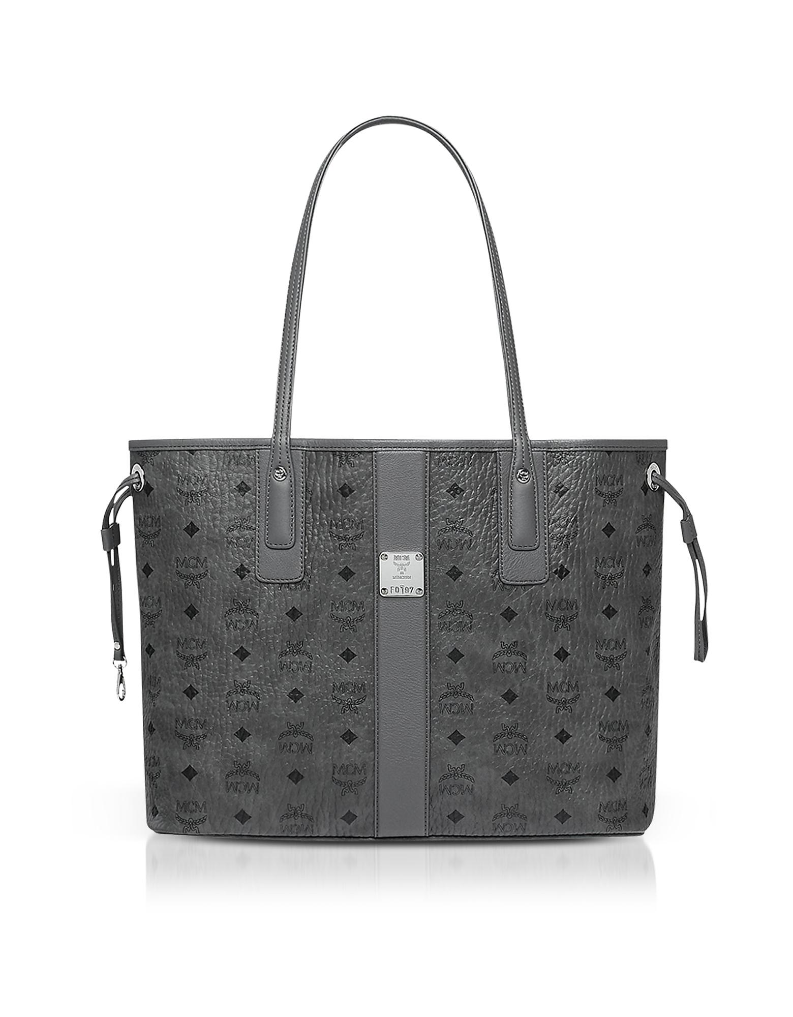 MCM Handbags, Phantom Grey Visetos Medium Reversible Liz Shopper