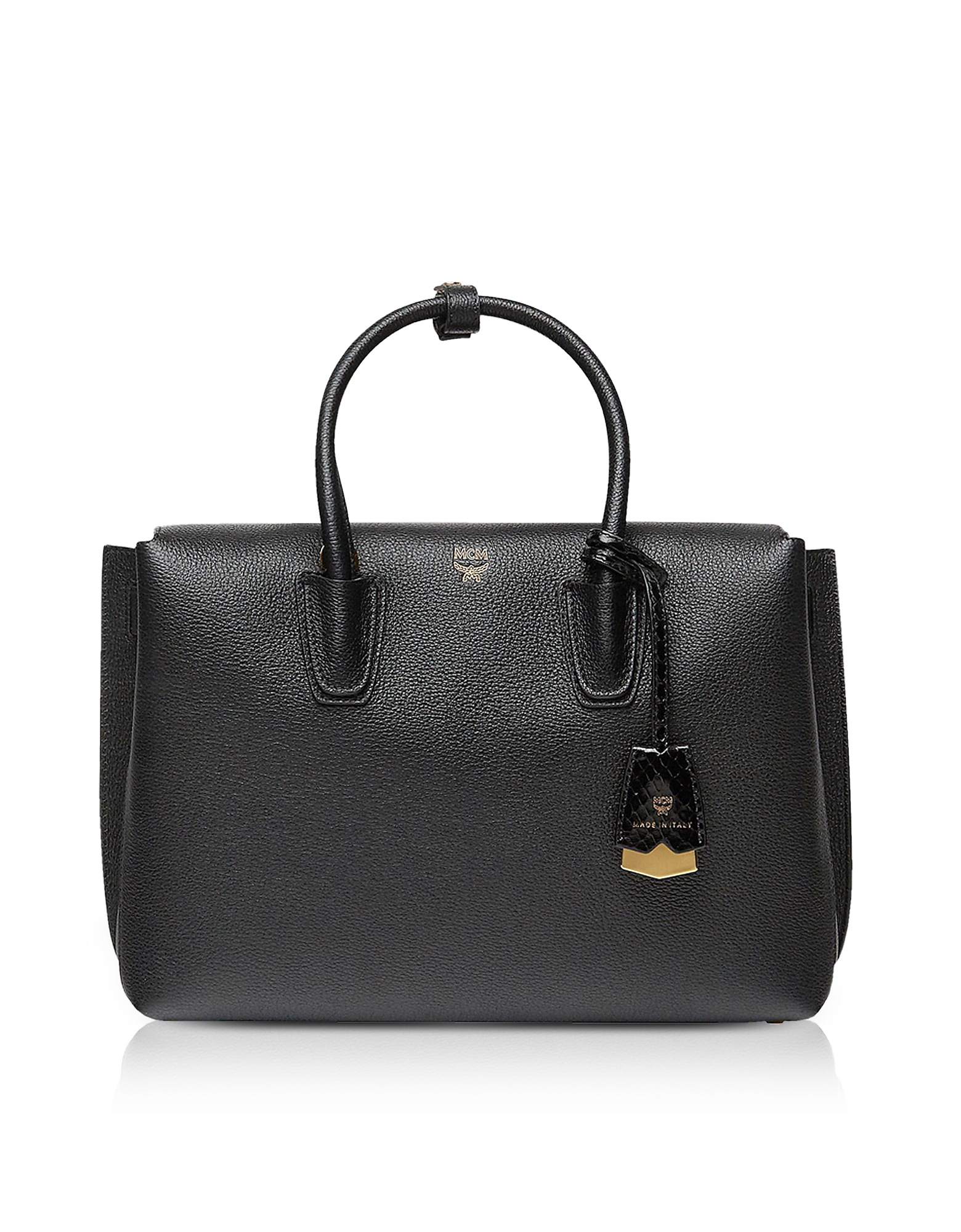 MCM Handbags, Black Grained Leather Milla Medium Tote