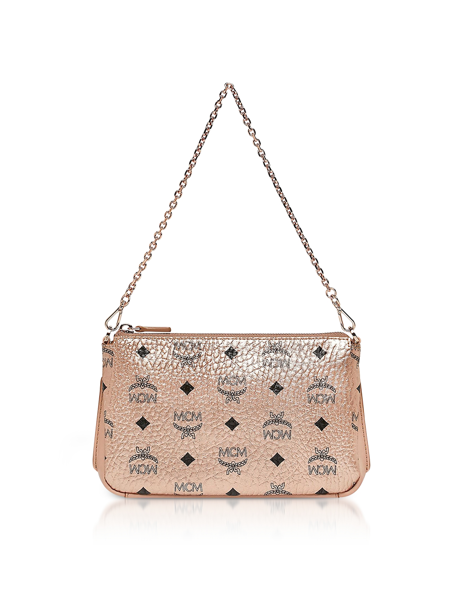 MCM Handbags, Champagne Gold Visetos Medium Millie Top Zip Crossbody