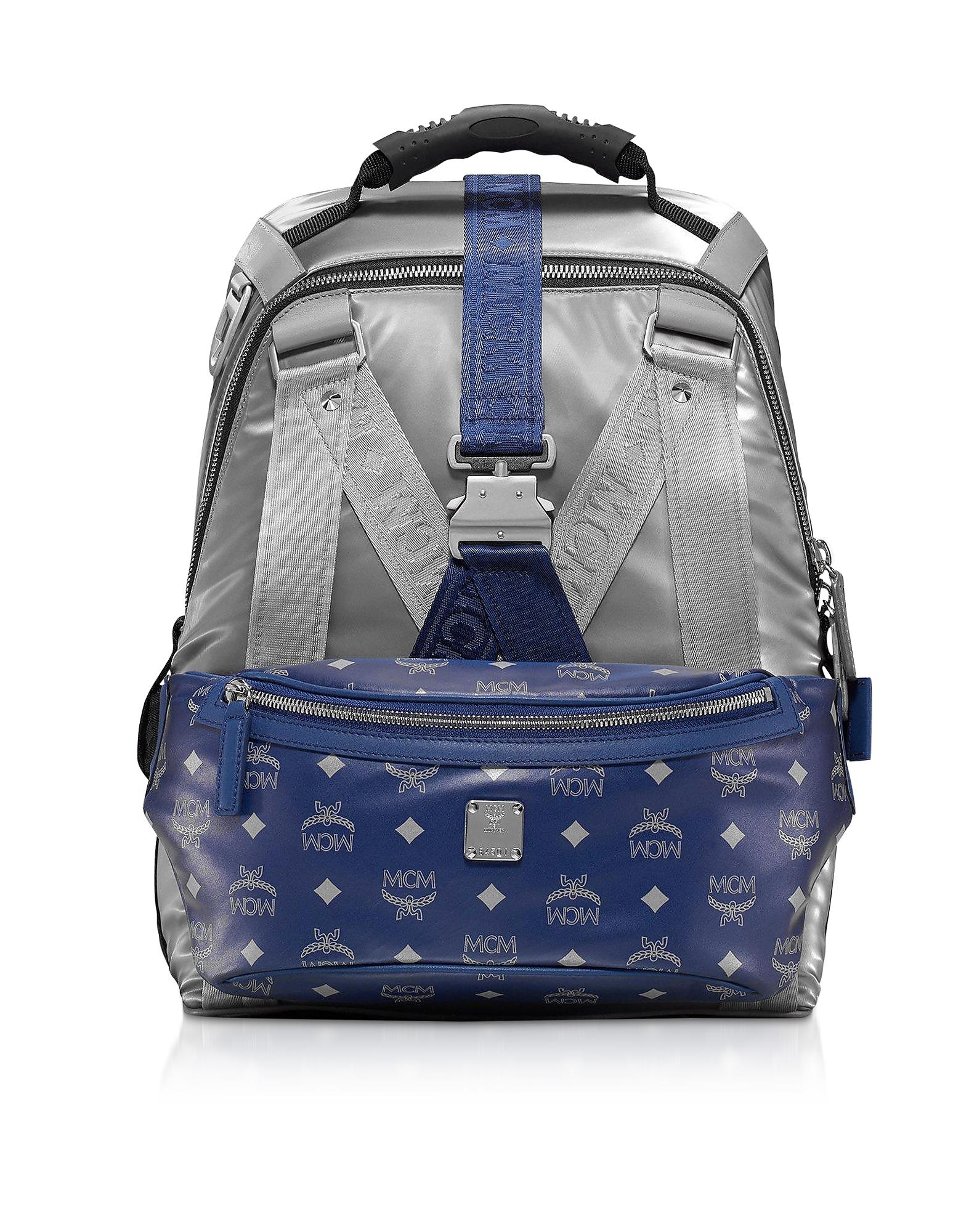 Metallic Silver Jemison Nylon Medium Backpack