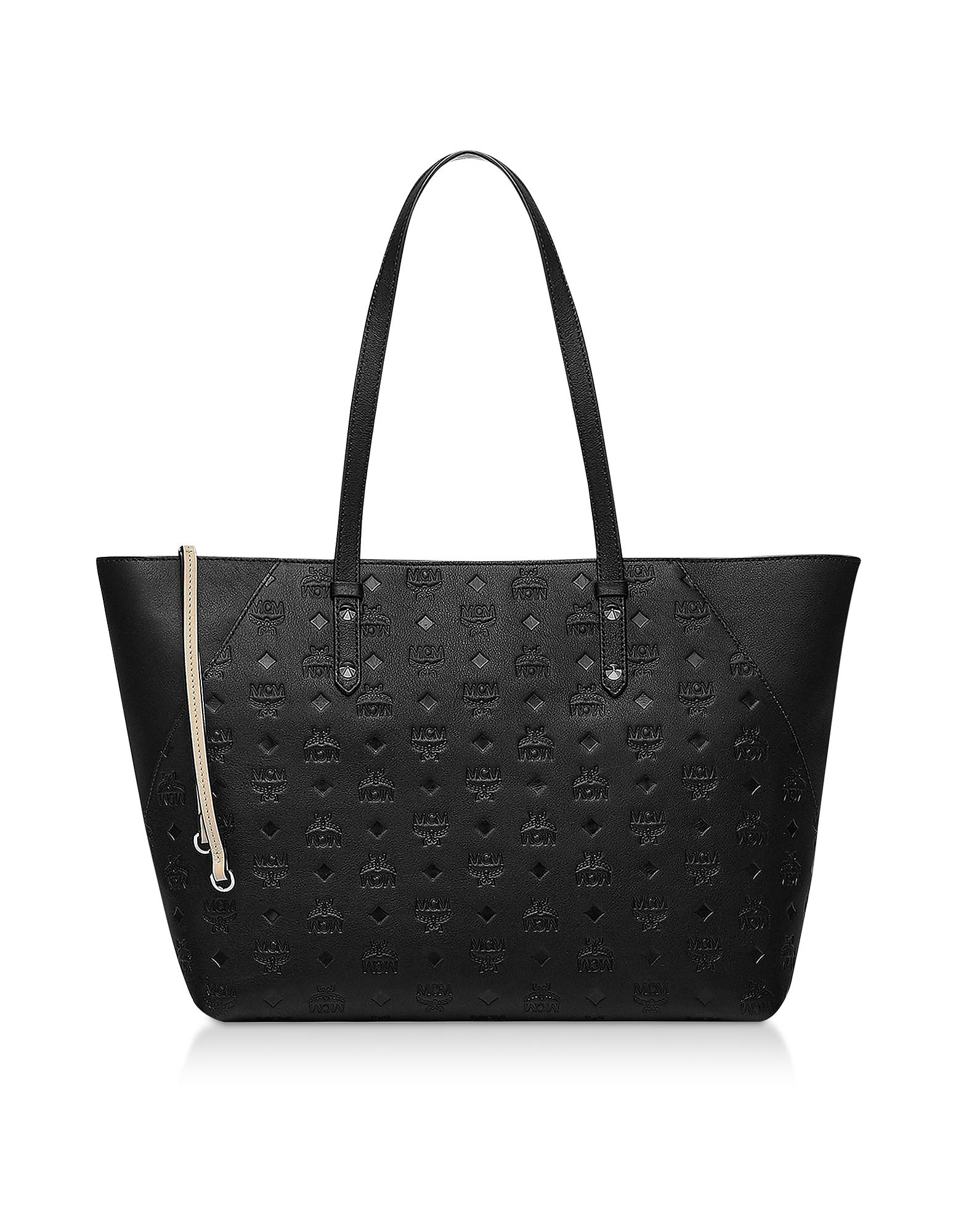 Klara Monogrammed Leather Charm Top Zip Medium Shopper
